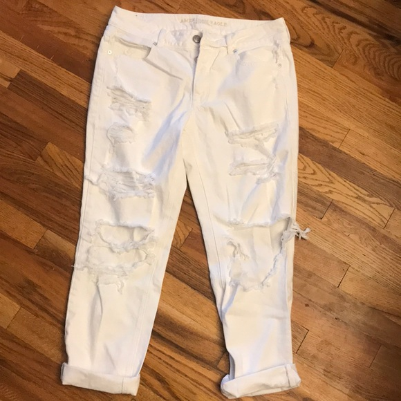 American Eagle Outfitters Denim - Majorly distressed white boyfriend style jeans